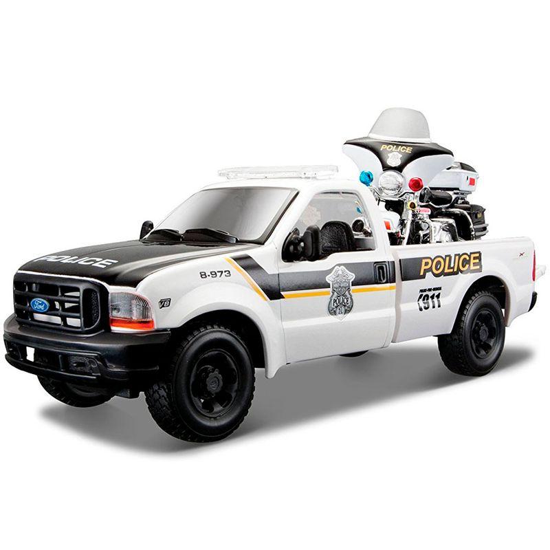 set-vehiculos-police-coleccion-ford-f350-pickup-y-moto-harley-davidson-2004-flhtpi-electra-glide-maisto-32186