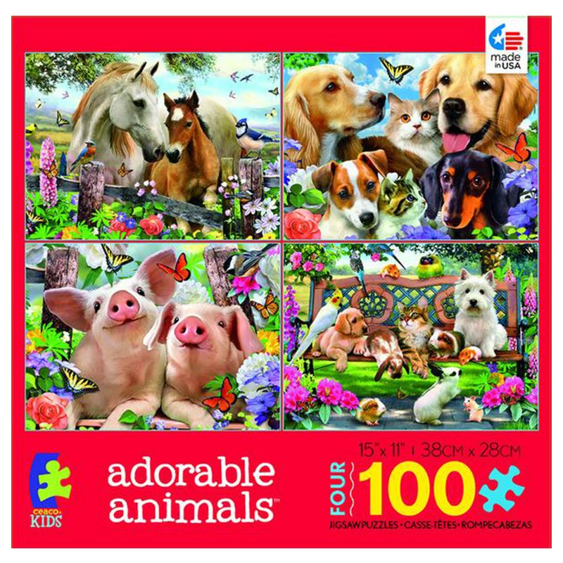 rompecabezas-4-en-1-100-piezas-adorable-animals-ceaco-cea31012